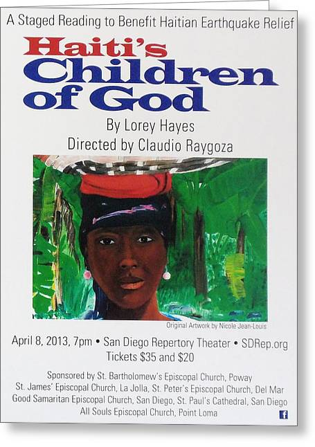 Staged Reading To Benefit Haitian Earthquake Relief Greeting Card by Nicole Jean-Louis
