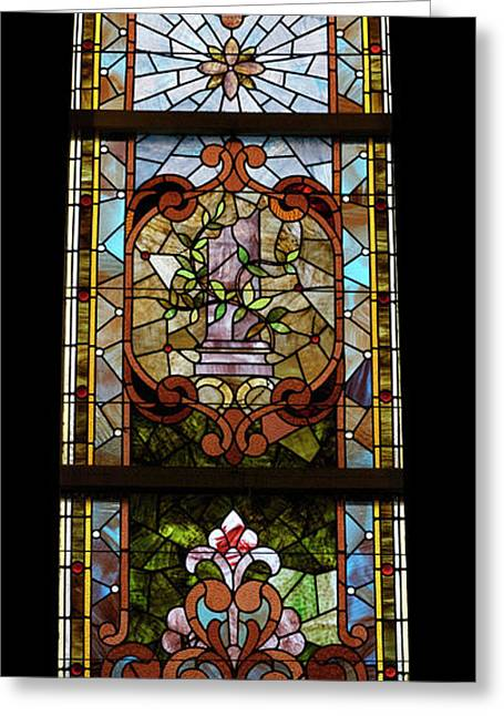 Stained Glass 3 Panel Vertical Composite 06 Greeting Card by Thomas Woolworth