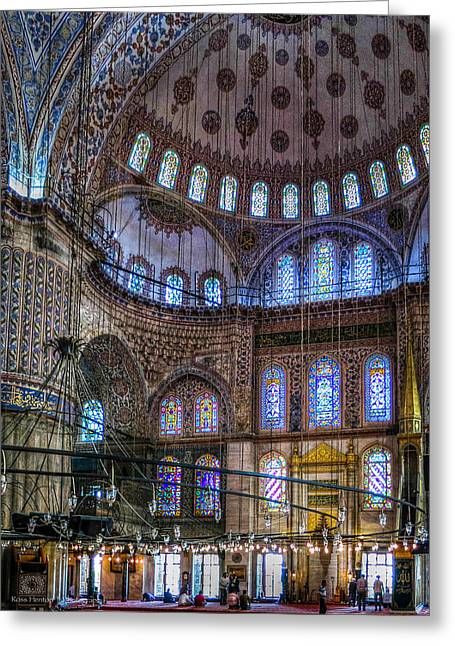Stained Glass And Dome Of The Sultanahmet Mosque Greeting Card