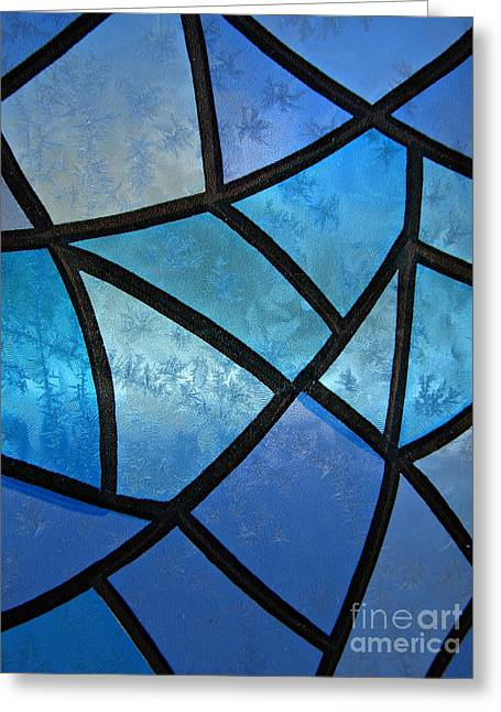 Stained Glass Background With Ice Flowers Greeting Card