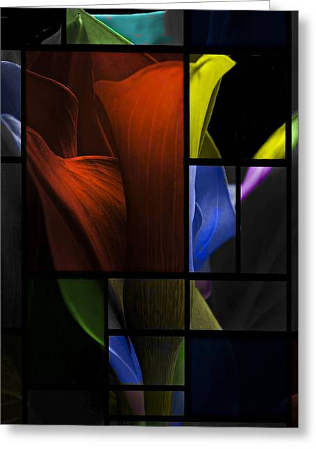 Stained Glass Calla Lily Greeting Card by Judy  Johnson