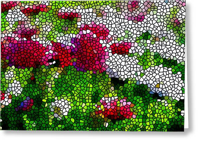 Stained Glass Chrysanthemum Flowers Greeting Card by Lanjee Chee