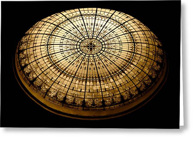 Stained Glass Dome - Sepia Greeting Card by Stephen Stookey