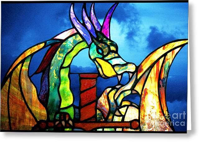 Stained Glass Dragon Greeting Card