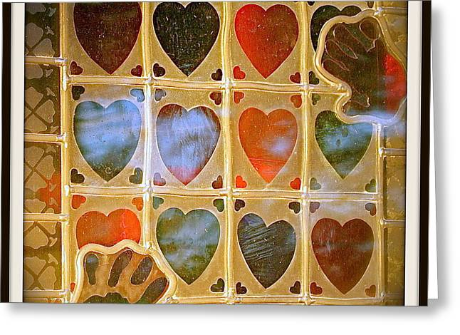Stained Glass Hands And Hearts Greeting Card by Kathy Barney