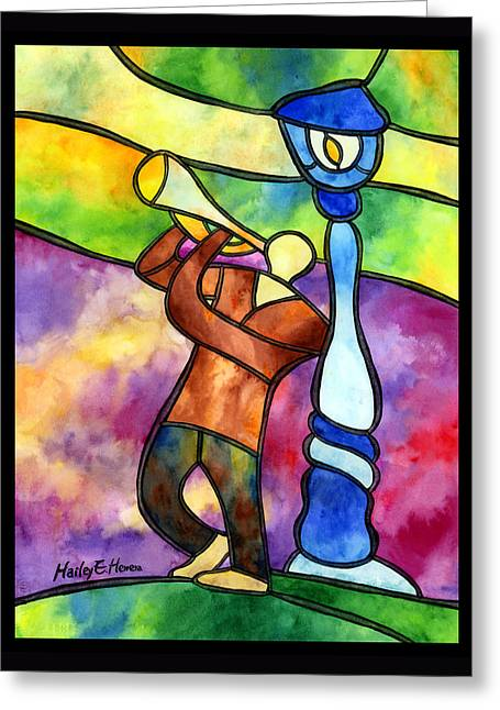 Stained Glass Jazzman Greeting Card by Hailey E Herrera