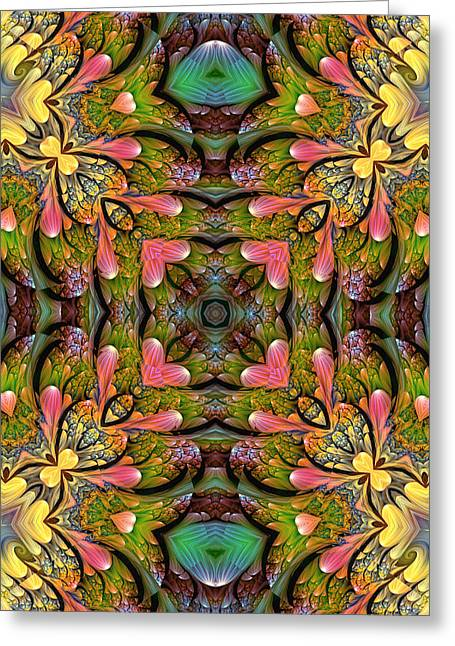 Greeting Card featuring the digital art Stained Glass by Lea Wiggins
