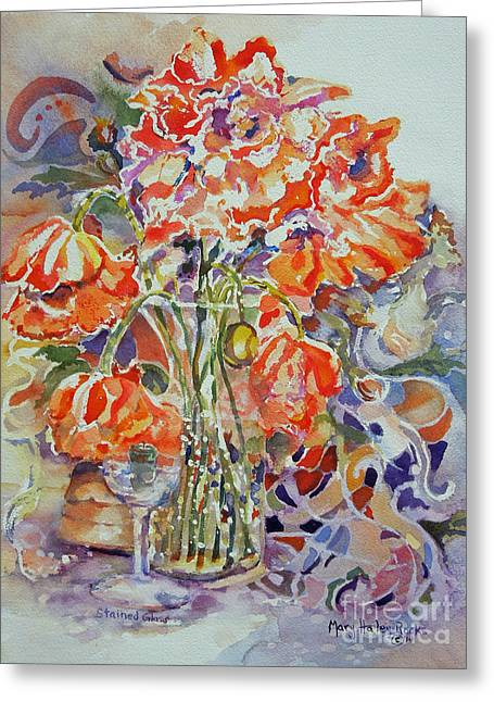Greeting Card featuring the painting Stained Glass by Mary Haley-Rocks