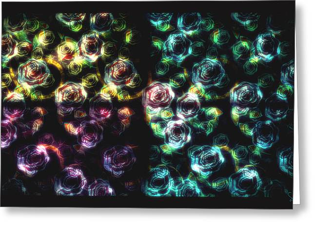 Stained Glass Roses Greeting Card