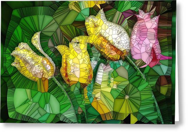 Stained Glass Series - Tulips Greeting Card by Ron Grafe