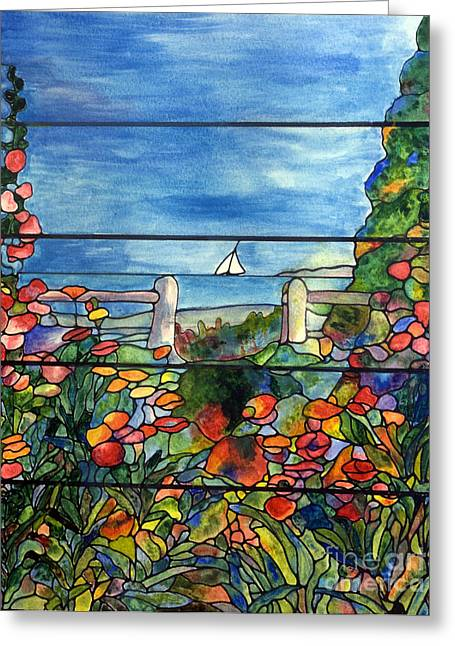 Stained Glass Tiffany Landscape Window With Sailboat Greeting Card