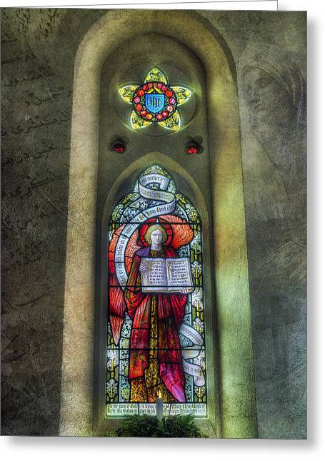 Stained Glass Window Art Greeting Card by Ian Mitchell