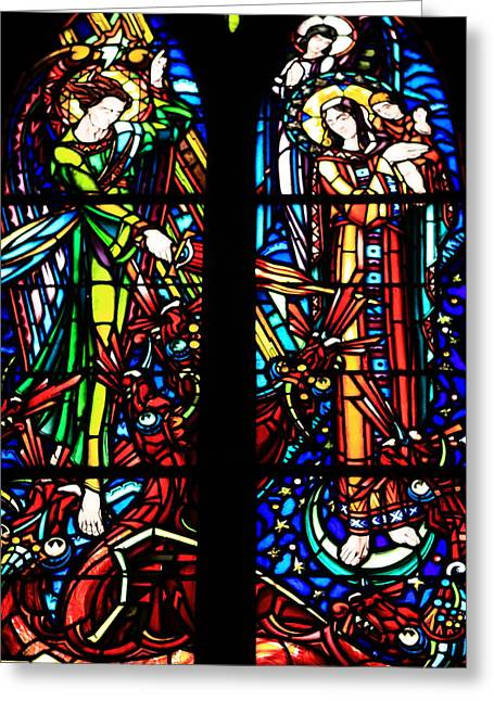 Stained Glass Window At Mont  Le Saint-michel Greeting Card