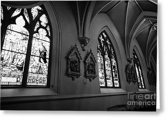 stained glass windows and stations of the cross interior of holy rosary cathedral Vancouver BC Canad Greeting Card