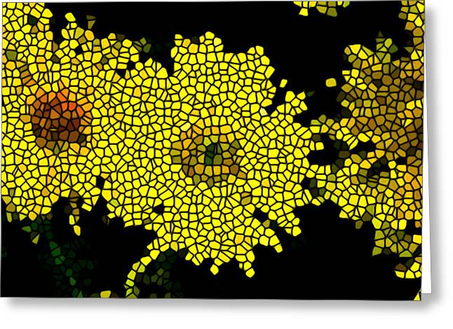 Stained Glass Yellow Chrysanthemum Flower Greeting Card by Lanjee Chee