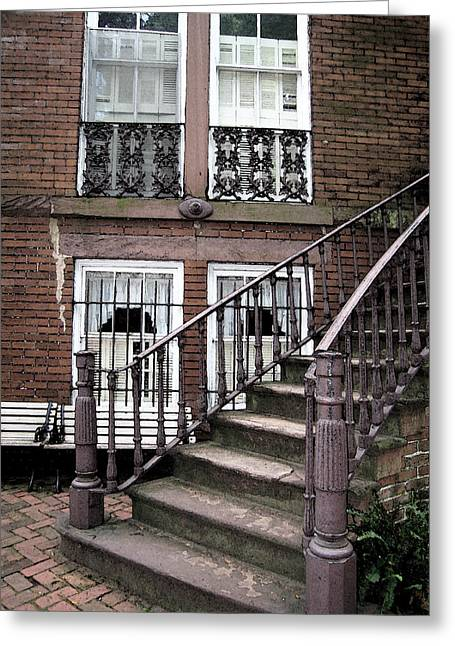 Staircase And Shutters Greeting Card by Linda Ryan