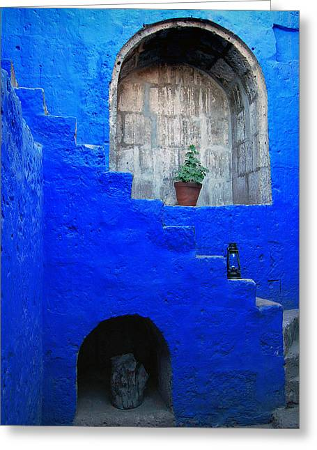 Staircase In Blue Courtyard Greeting Card