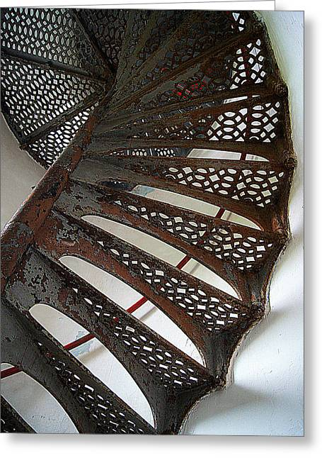 Staircase Of The Chambers Island Lighthouse Greeting Card