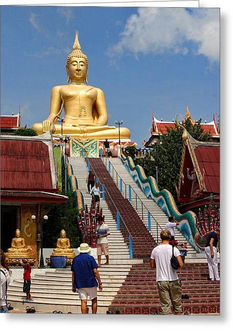 Staircase To Sitting Budda Greeting Card