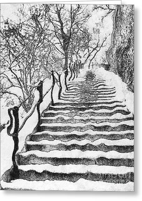Stairs In Winter Greeting Card by Odon Czintos