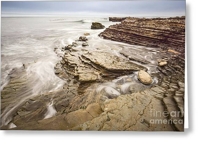 Stairs Of Time - The Jagged Rocks Montana De Oro State Park Greeting Card by Jamie Pham