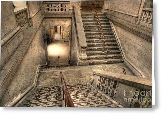 Stairs Up And Down Greeting Card by David Bearden