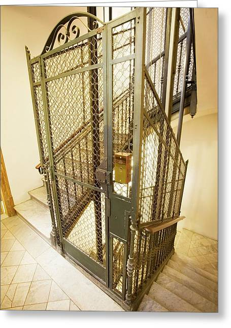 Stairway And Traditional Lift In Apartment Greeting Card