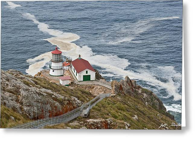 Greeting Card featuring the photograph Stairway Leading To Point Reyes Lighthouse by Jeff Goulden