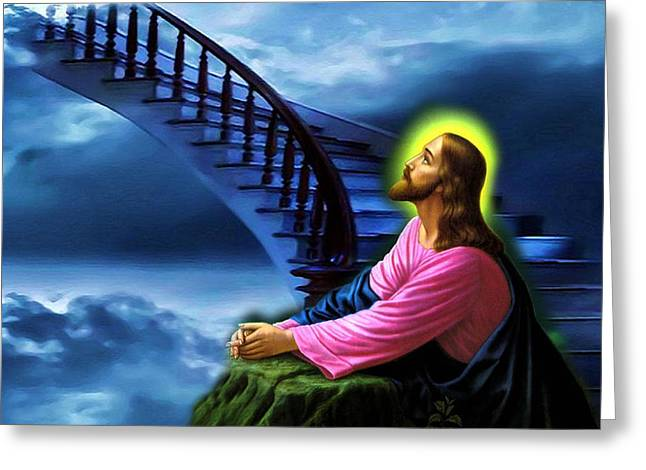 Stairway To Heaven Greeting Card by Karen Showell