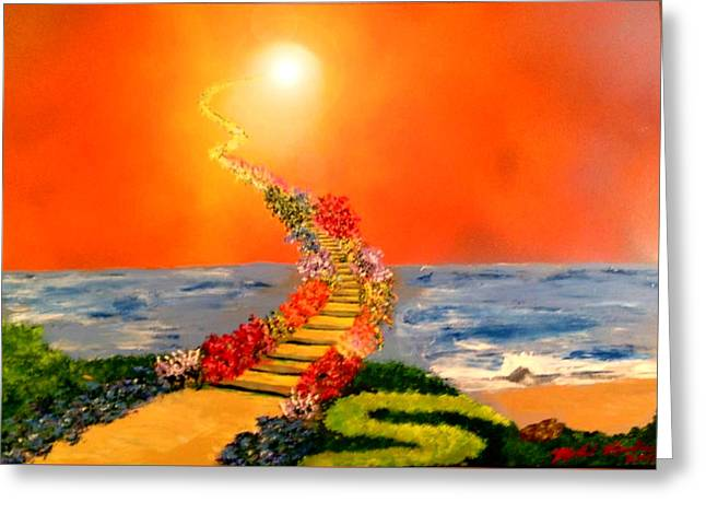 Greeting Card featuring the painting Stairway To Heaven by Michael Rucker