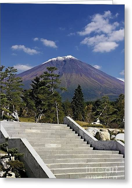 Greeting Card featuring the photograph Stairway To Mt Fuji by Ellen Cotton