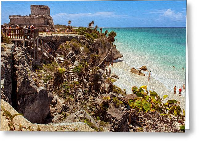 Stairway To The Tulum Beach  Greeting Card
