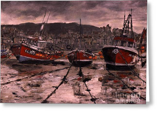 Staithes At Low Tide Greeting Card
