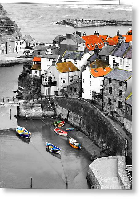 Staithes Greeting Card by Louise Heusinkveld