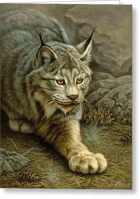Stalking Lynx Greeting Card by Paul Krapf