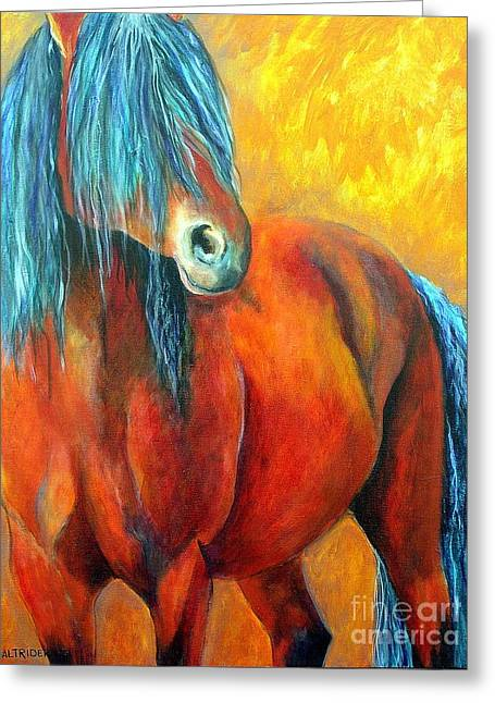 Greeting Card featuring the painting Stallions Concerto  by Alison Caltrider