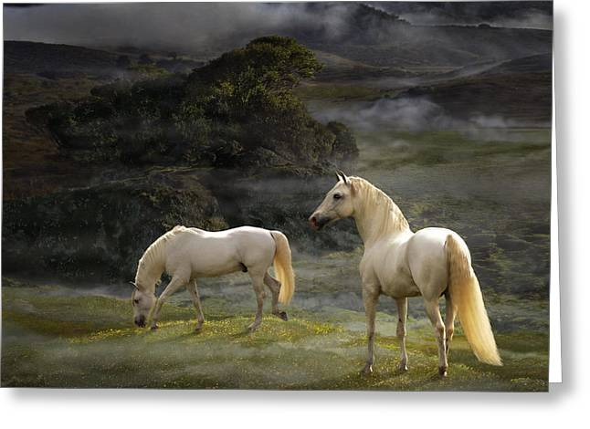 Stallions Of The Gods Greeting Card by Melinda Hughes-Berland