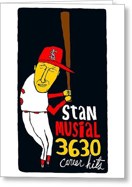 Stan Musial St Louis Cardinals Greeting Card by Jay Perkins