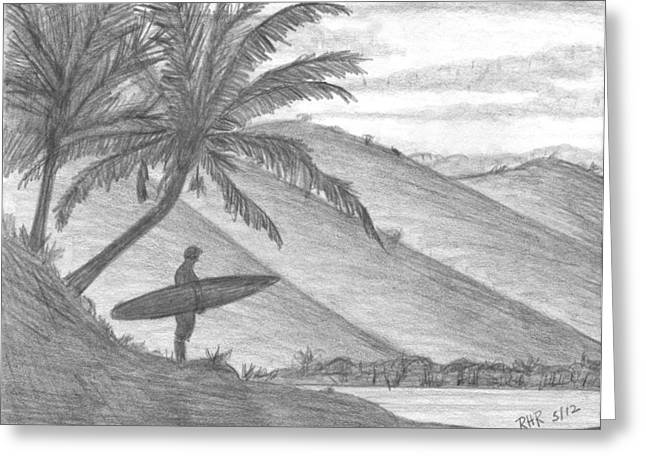 Stand Alone Surfer Greeting Card by Ray Ratzlaff
