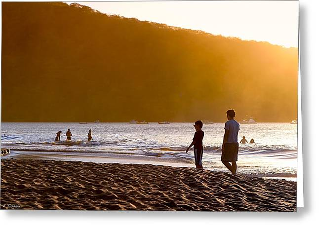 Stand By Me - Costa Rica - Sunset Beach Greeting Card by Mark E Tisdale
