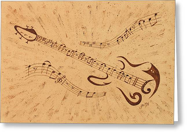 Stand By Me Guitar Notes Original Coffee Painting Greeting Card