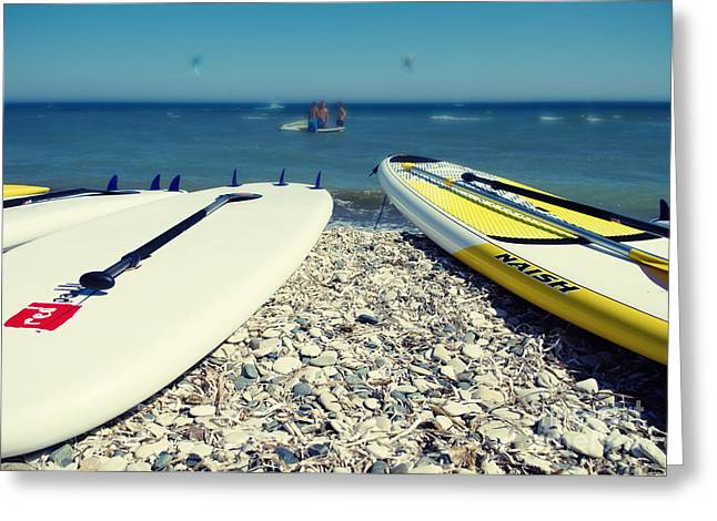 Stand Up Paddle Boards Greeting Card by Stelios Kleanthous
