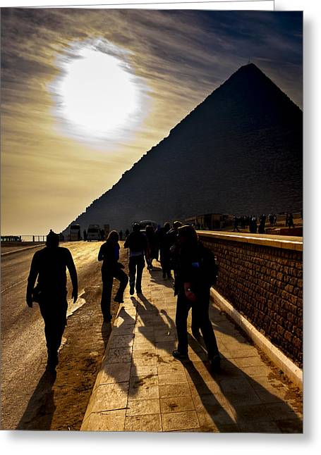 Standing Before The Great Pyramid In Egypt Greeting Card by Mark E Tisdale