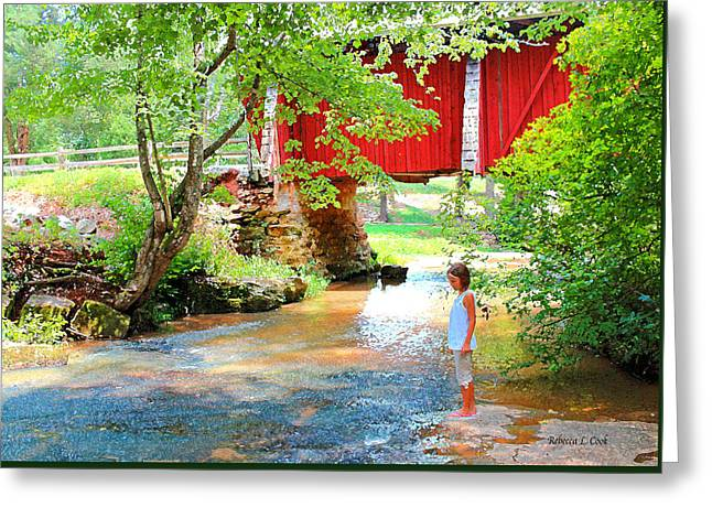 Standing By The River At Campbell's Bridge Greeting Card