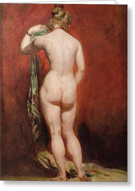 Standing Female Nude Greeting Card by William Etty