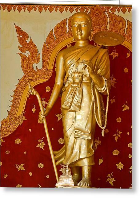 Standing Large Gold Budda Greeting Card by Linda Phelps