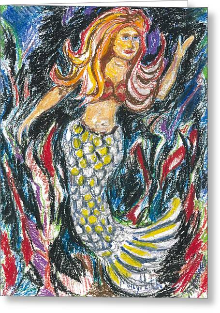 Standing Mermaid Greeting Card by Mary Hatch