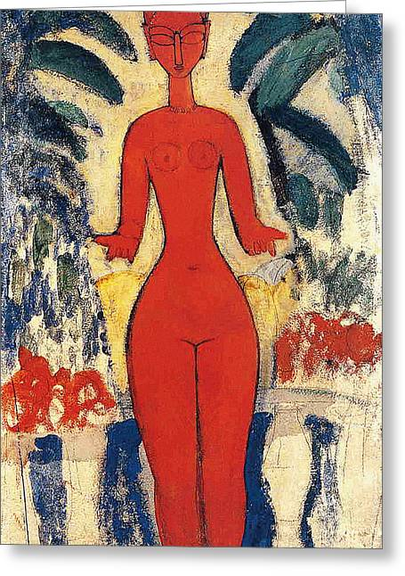Standing Nude Greeting Card by Amedeo Modigliani