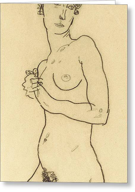 Standing Nude Greeting Card by Egon Schiele