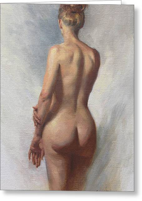 Standing Nude I Greeting Card by Anna Rose Bain